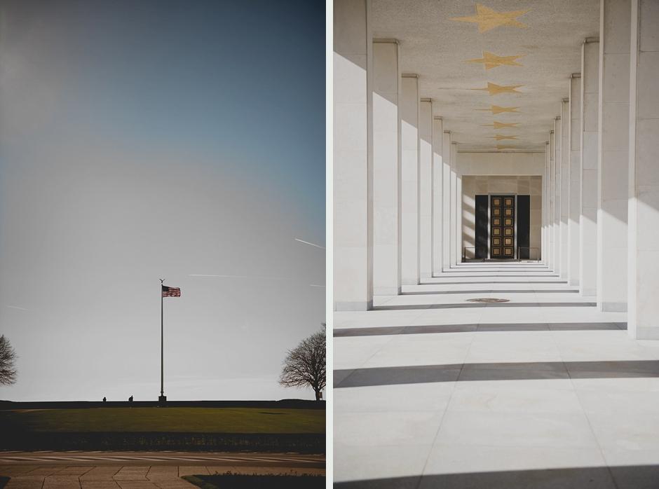 Amerikaans vlag en monument voor Amerikaans eslachtoffers van de 2de wereldoorlog in België