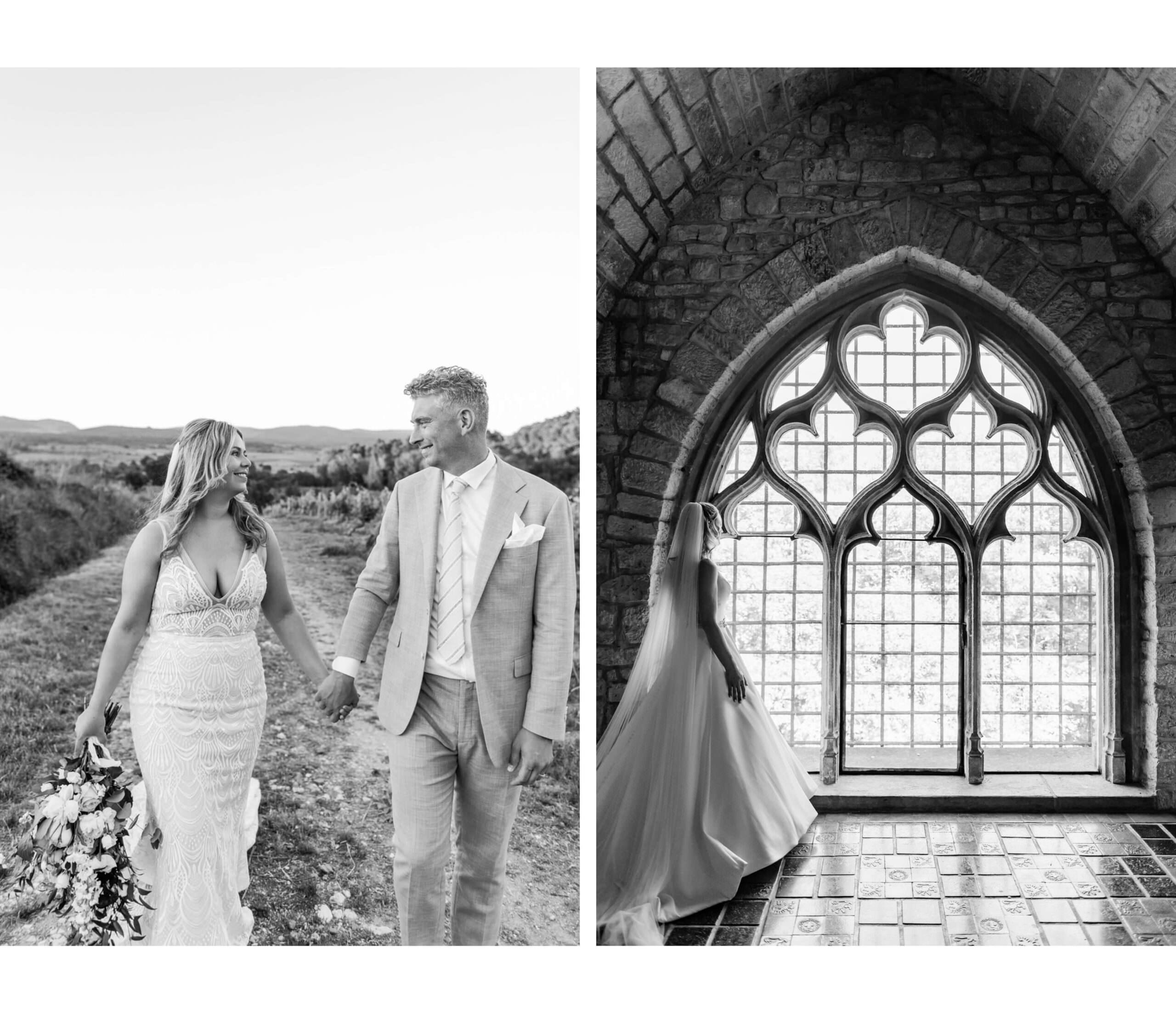 Links een bruidspaar dat in de buurt van Zuid-frankrijk trouwt en rechts een bruid dat uit 1 van de grootse ramen in Kasteel Hattonchatel kijkt (zwart wit foto's)