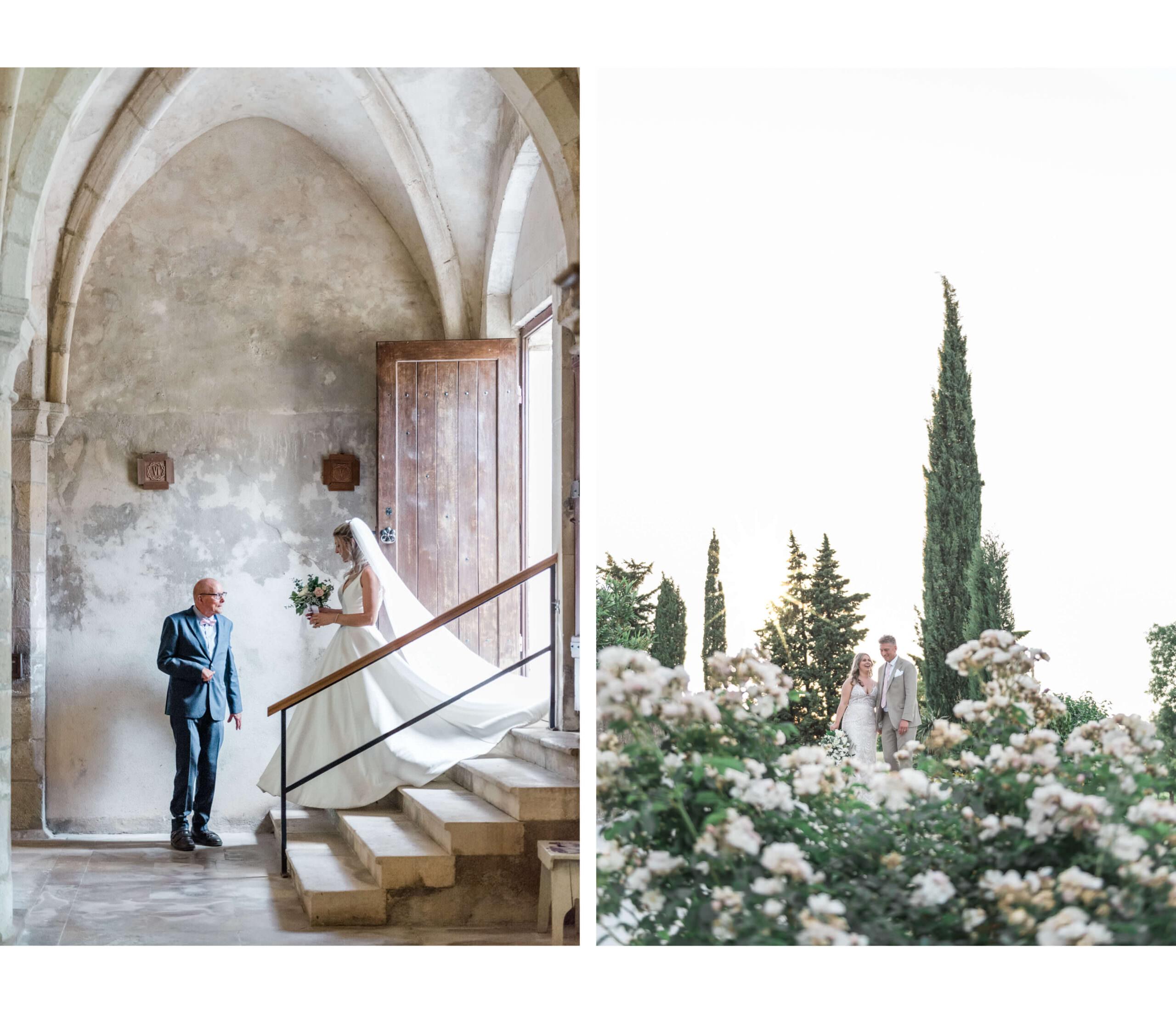 Links: Trouwfotografie van een bruid die een kerk inloopt in Frankrijk. Rechts: een bruid en bruidegom tussen de cipressen en witte rozen in Provence in Zuid-Frankrijk
