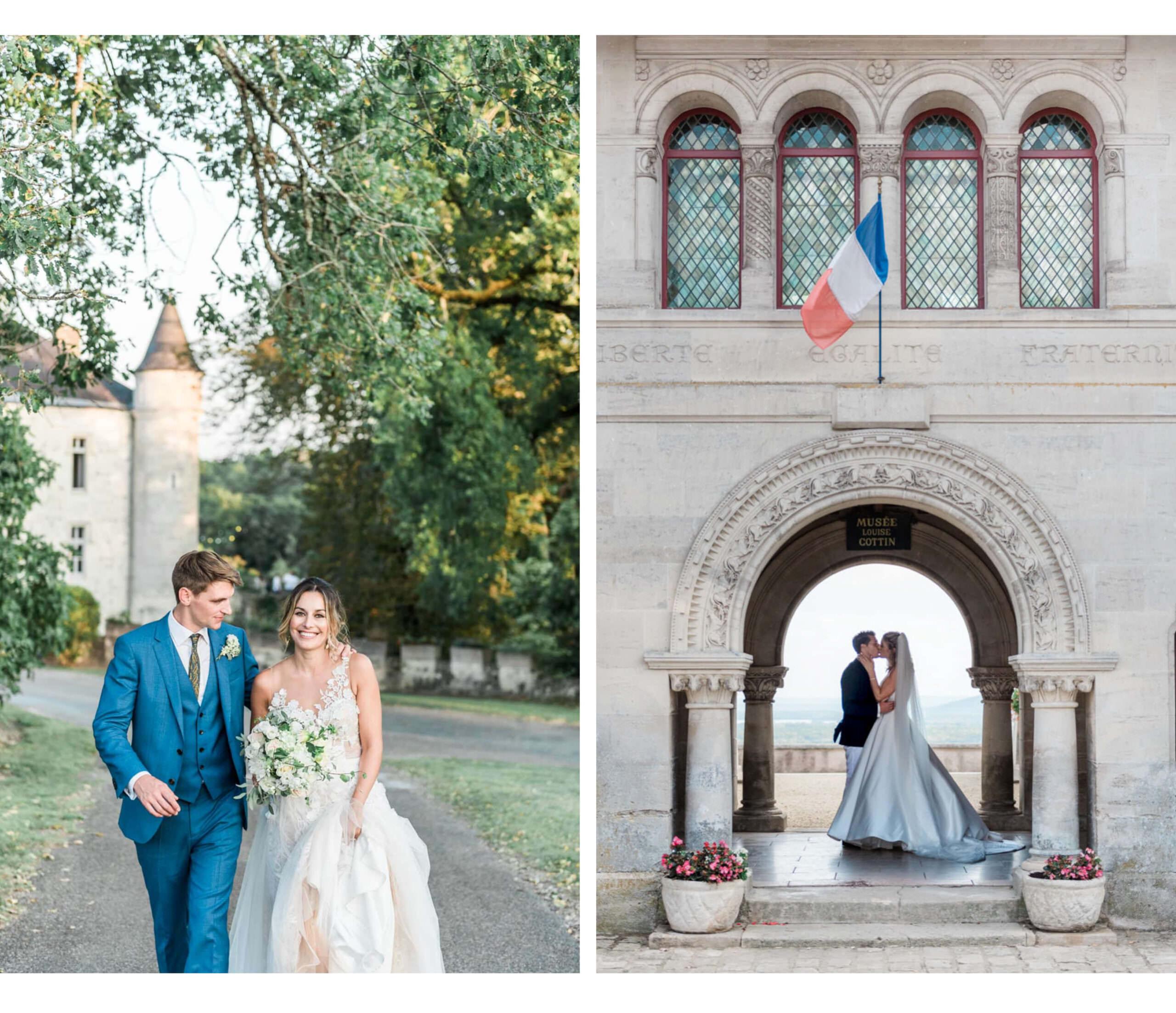 Links een bruidspaar dat trouwt op een kasteel in Frankrijk en rechts een bruid en bruidegom die trouwen in Hattonchatel in Noord-Frankrijk